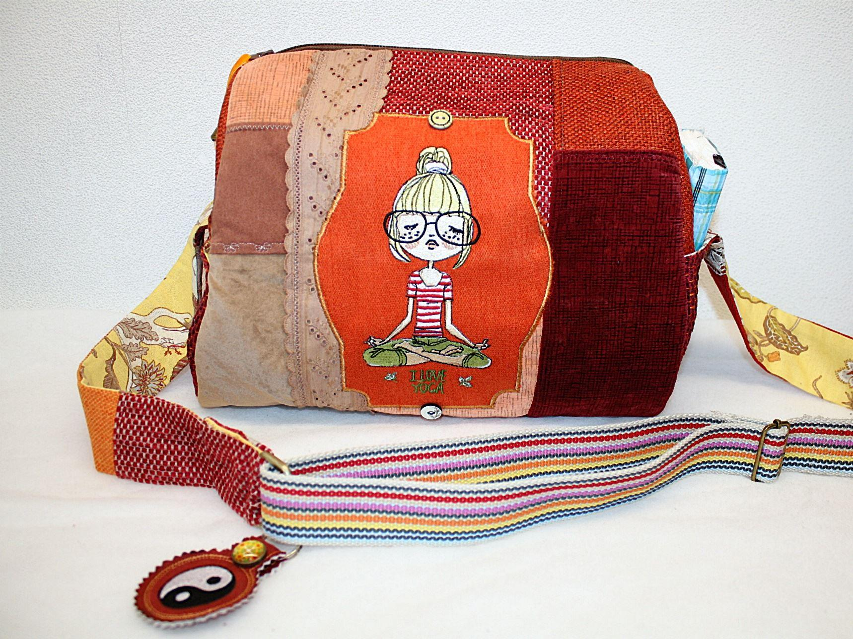 Travel bag with I love yoga embroidery design