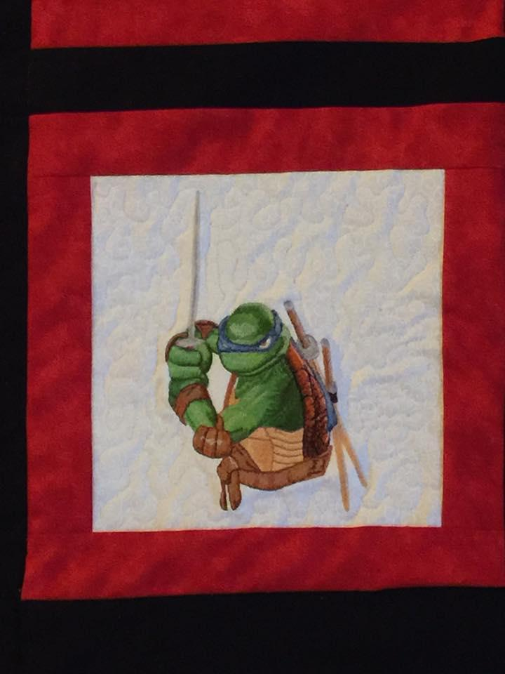 Quilt block with Leonardo machine embroidery design