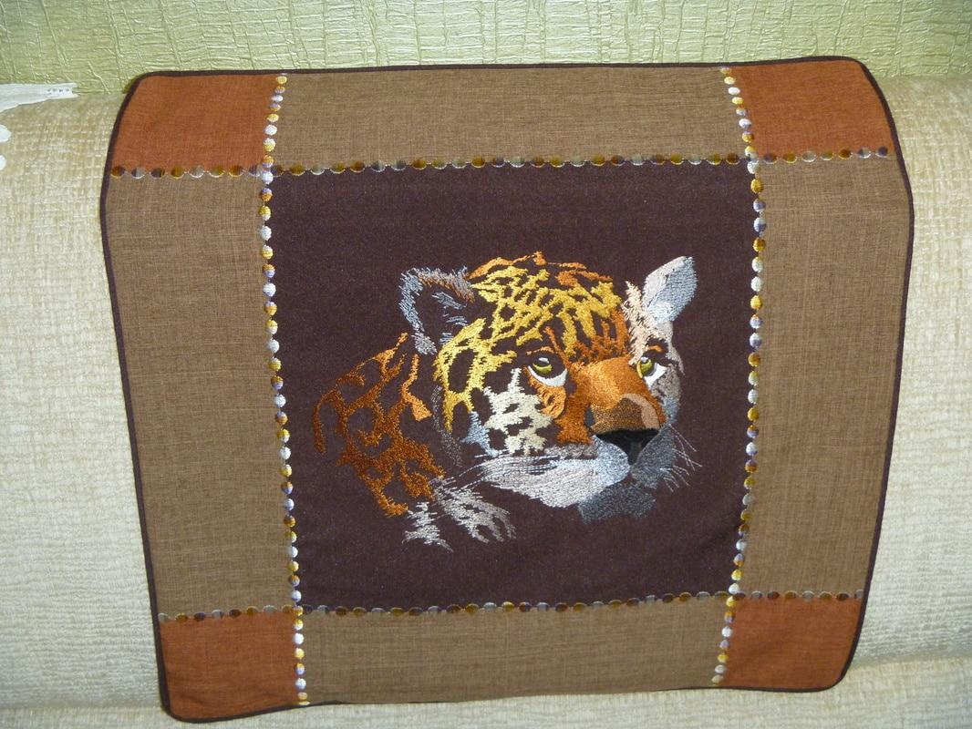 Carpet with leopard free machine embroidery design