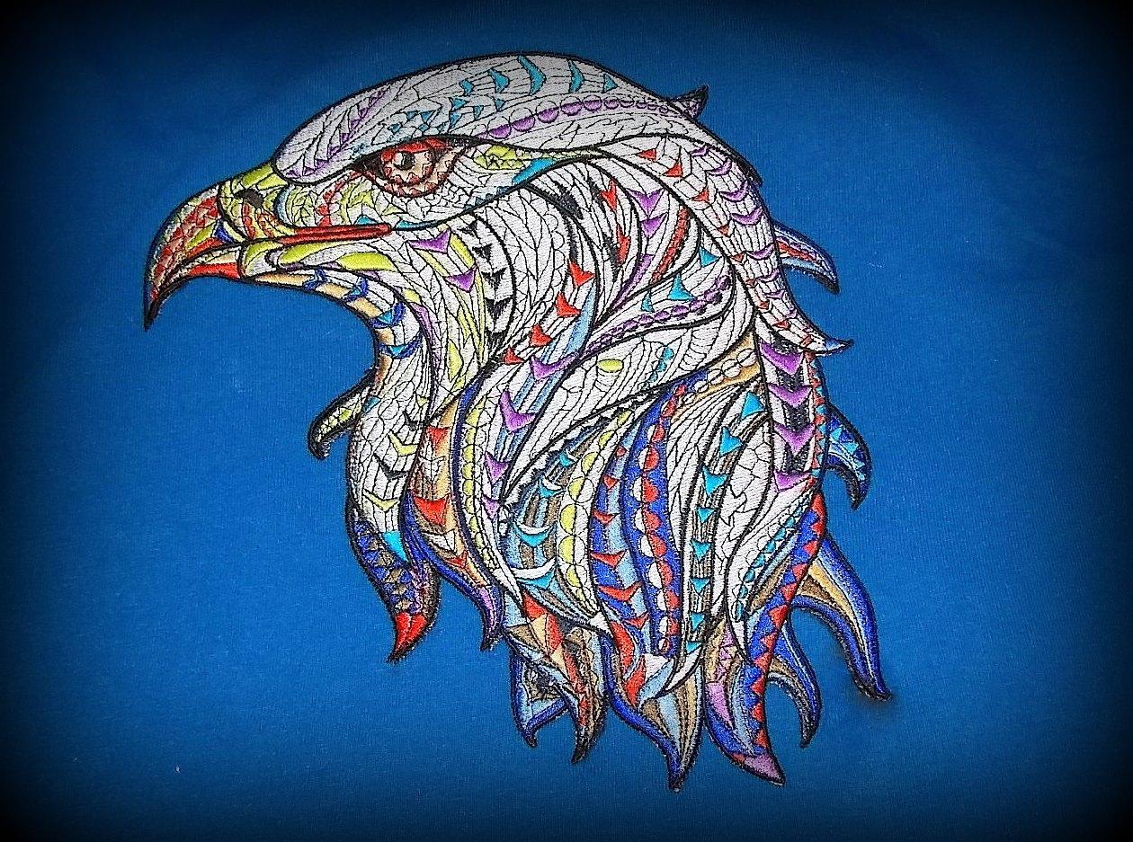 Mosaic eagle machine embroidery design