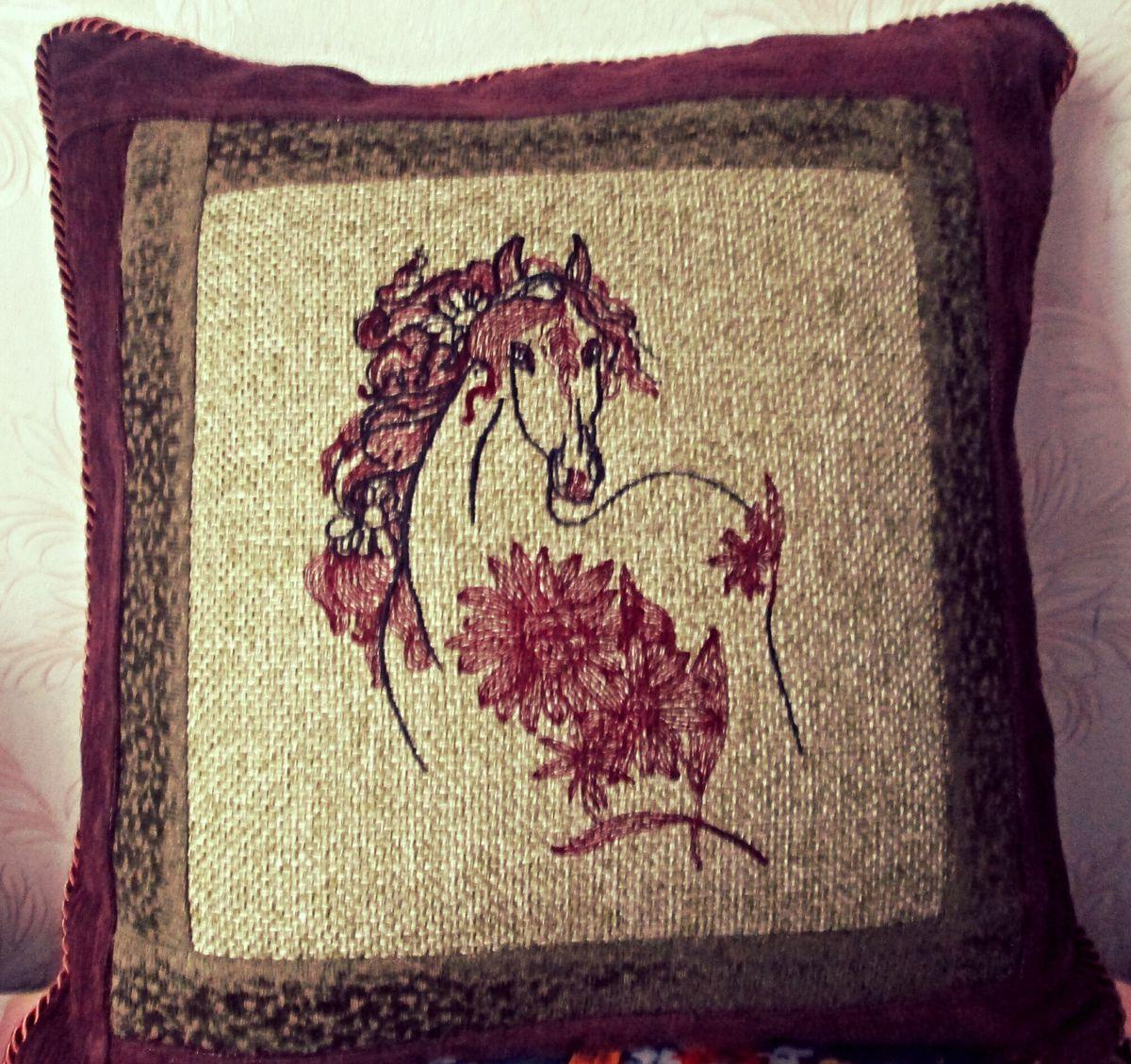 Cushion with Orange horse embroidery design