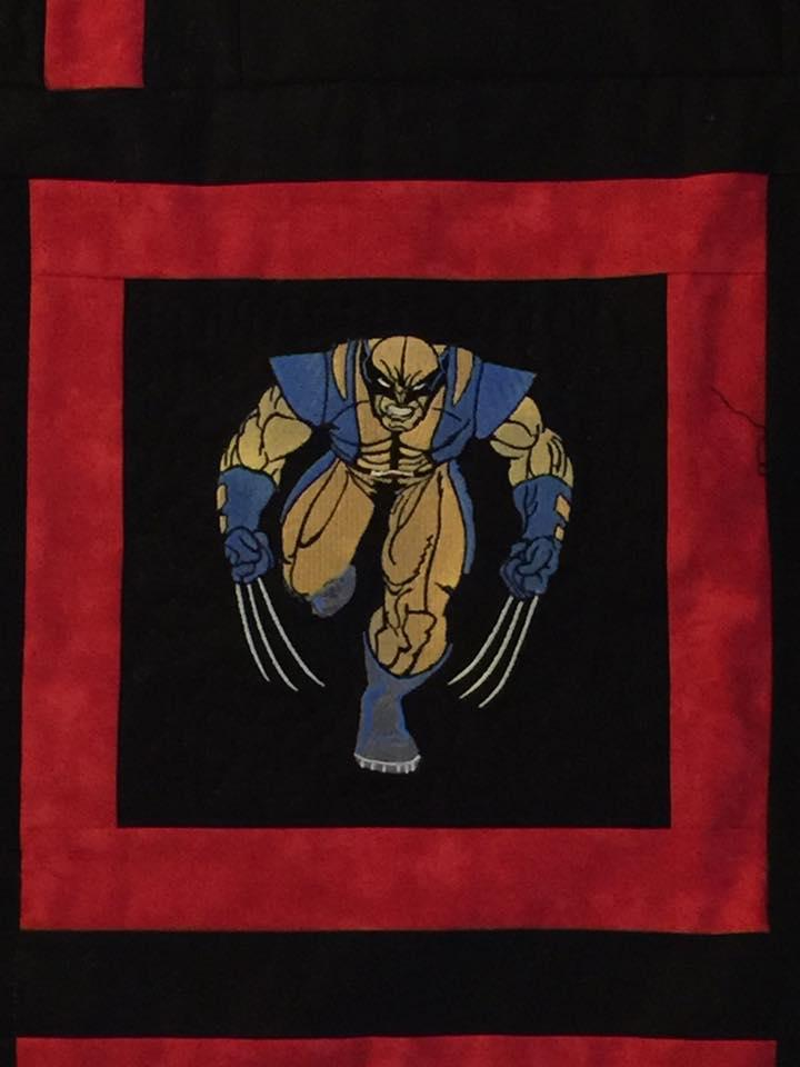 Quilt block with Wolverine embroidery design