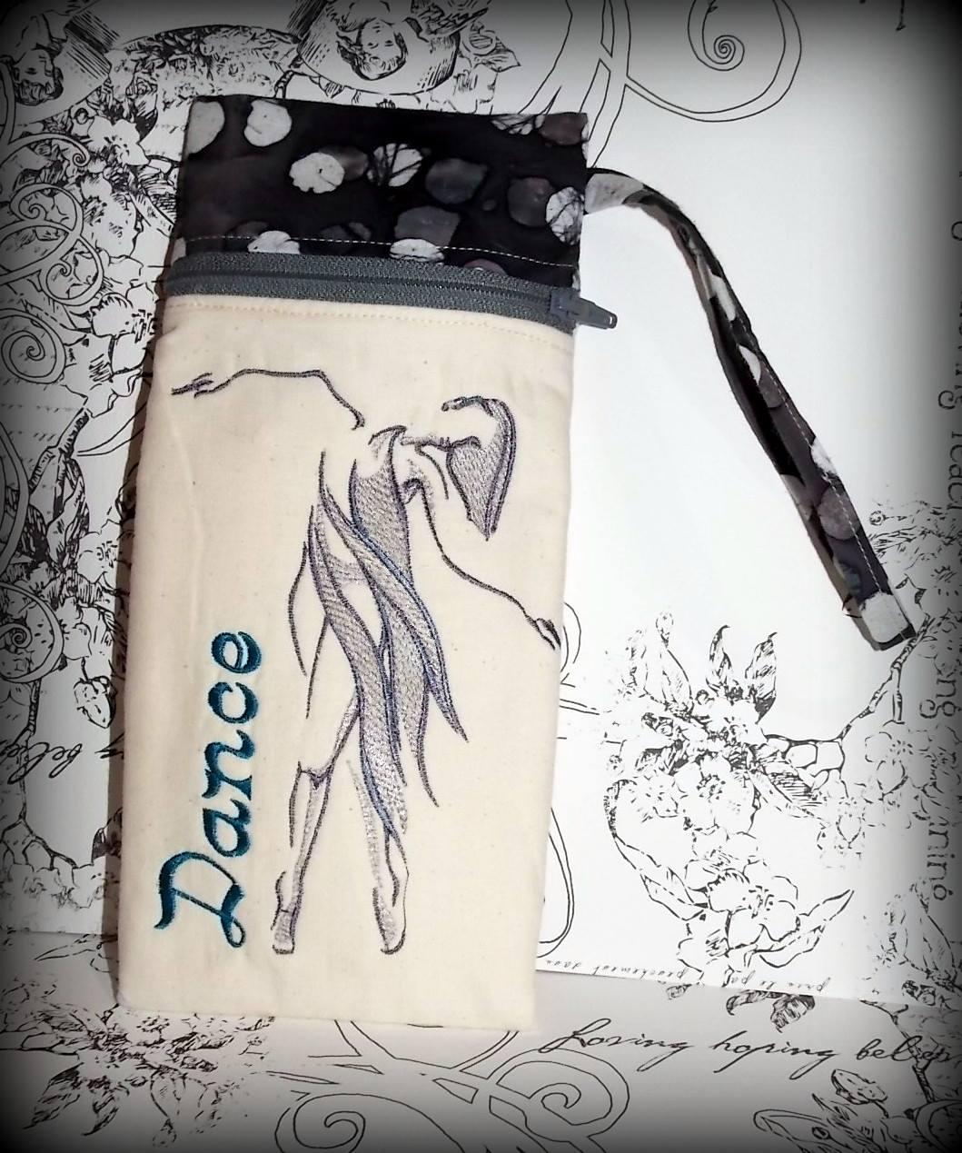 Mobile cover with dancer free embroidery design