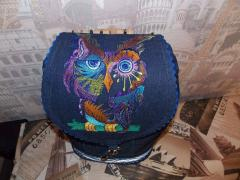 Denim backpack with Owl in color free embroidery design