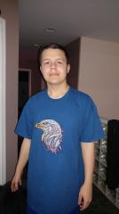 Men's shirt with Mosaic eagle embroidery design