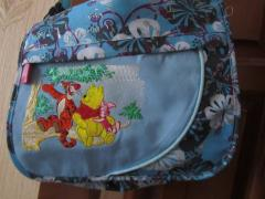 Handbag with Winnie Pooh and Tigger talking embroidery design
