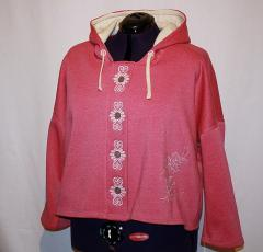 Jacket with vignette free embroidery design
