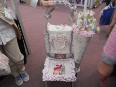 Chair cushion with english coquette machine embroidery design