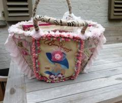 Fashion bag with French coquette machine embroidery design