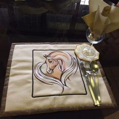 Table napkin with Horse heart embroidery design