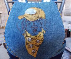 Denim backpack with Stylish dachshund machine embroidery design