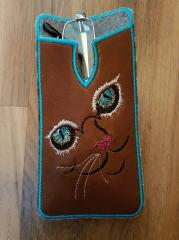 Mobile cover with cat free embroidery design
