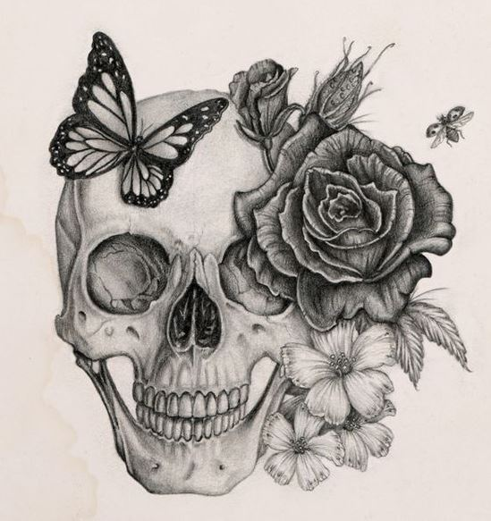 Skull Roses and Butterfly
