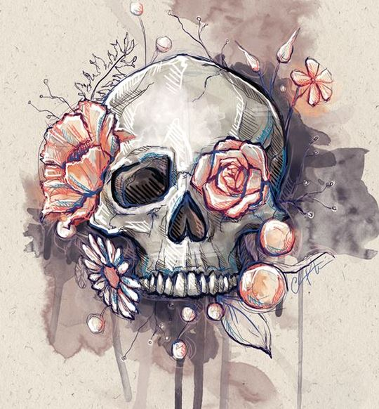 water color skull and roses