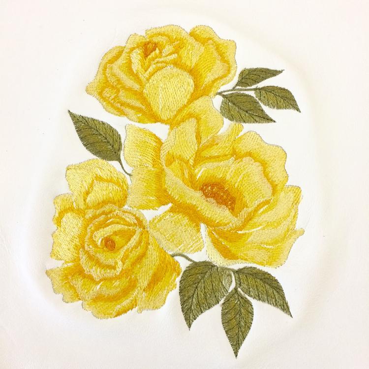 Yellow rose free machine embroidery design