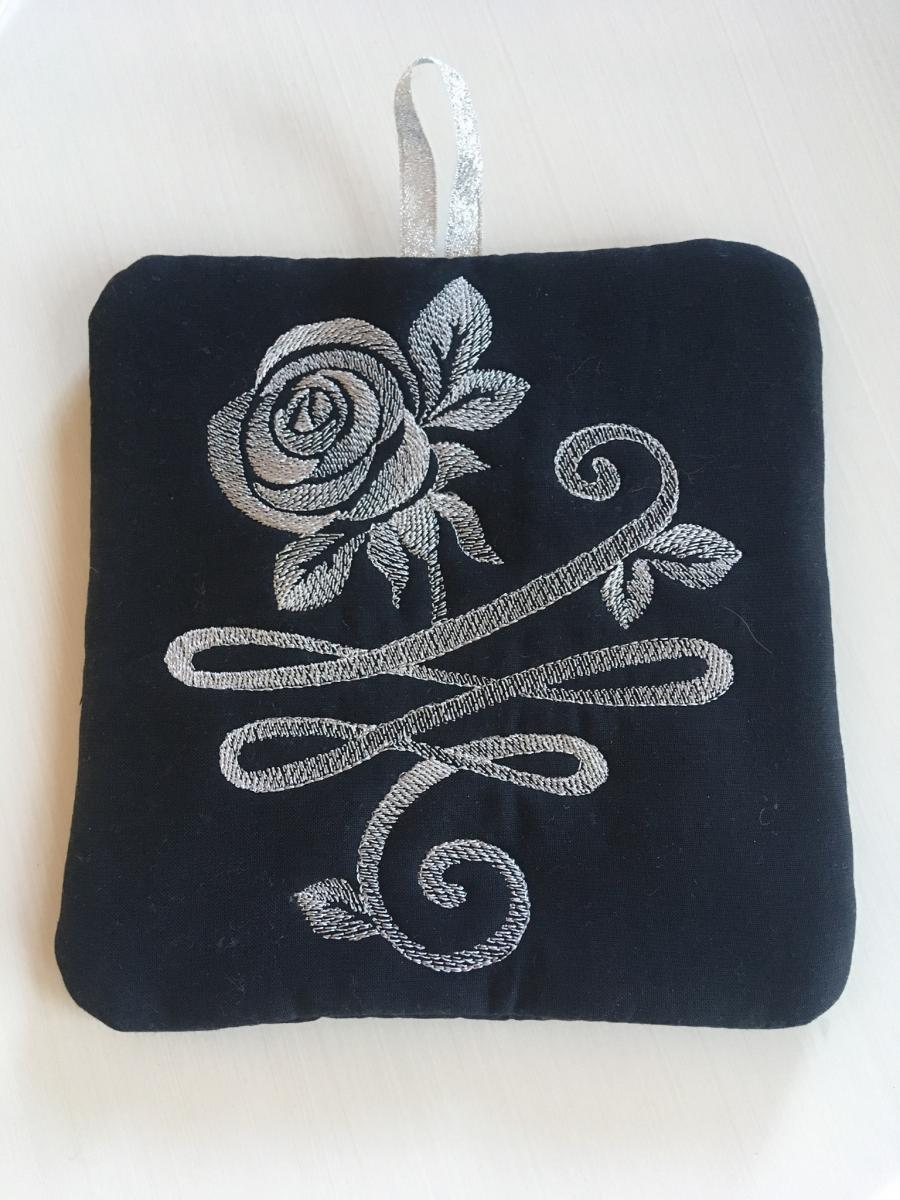 Small case with steel rose free machine embroidery design