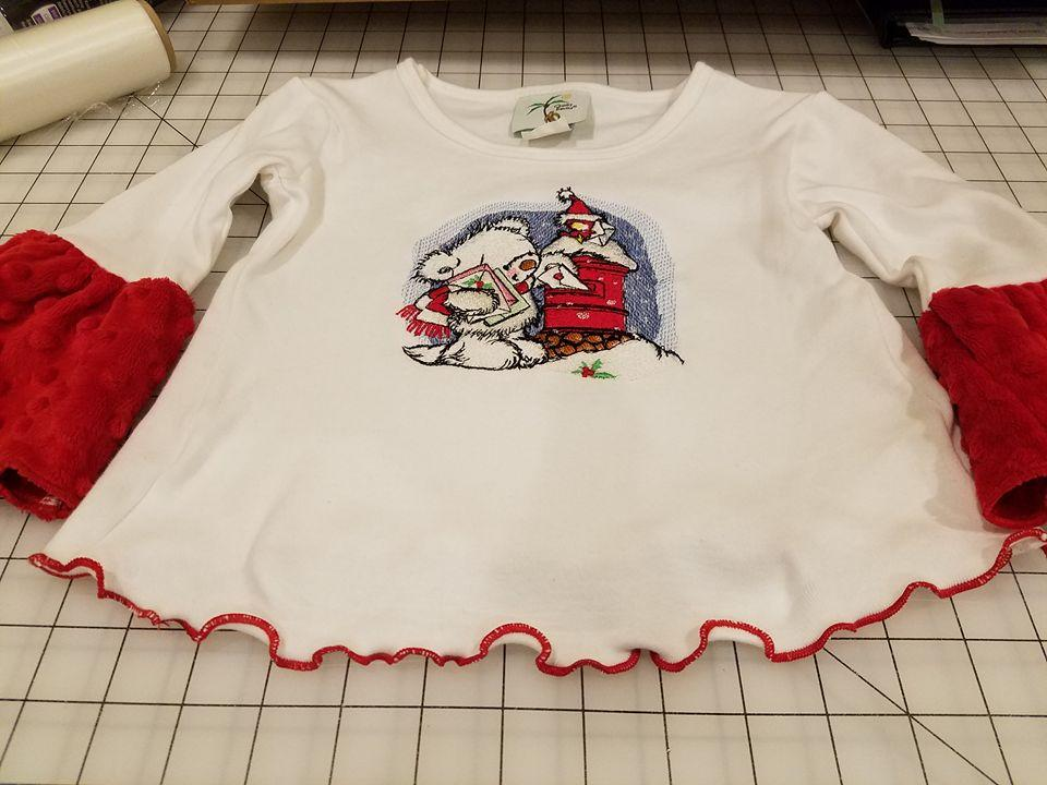 Christmas outfit with Letter for Santa machine embroidery design
