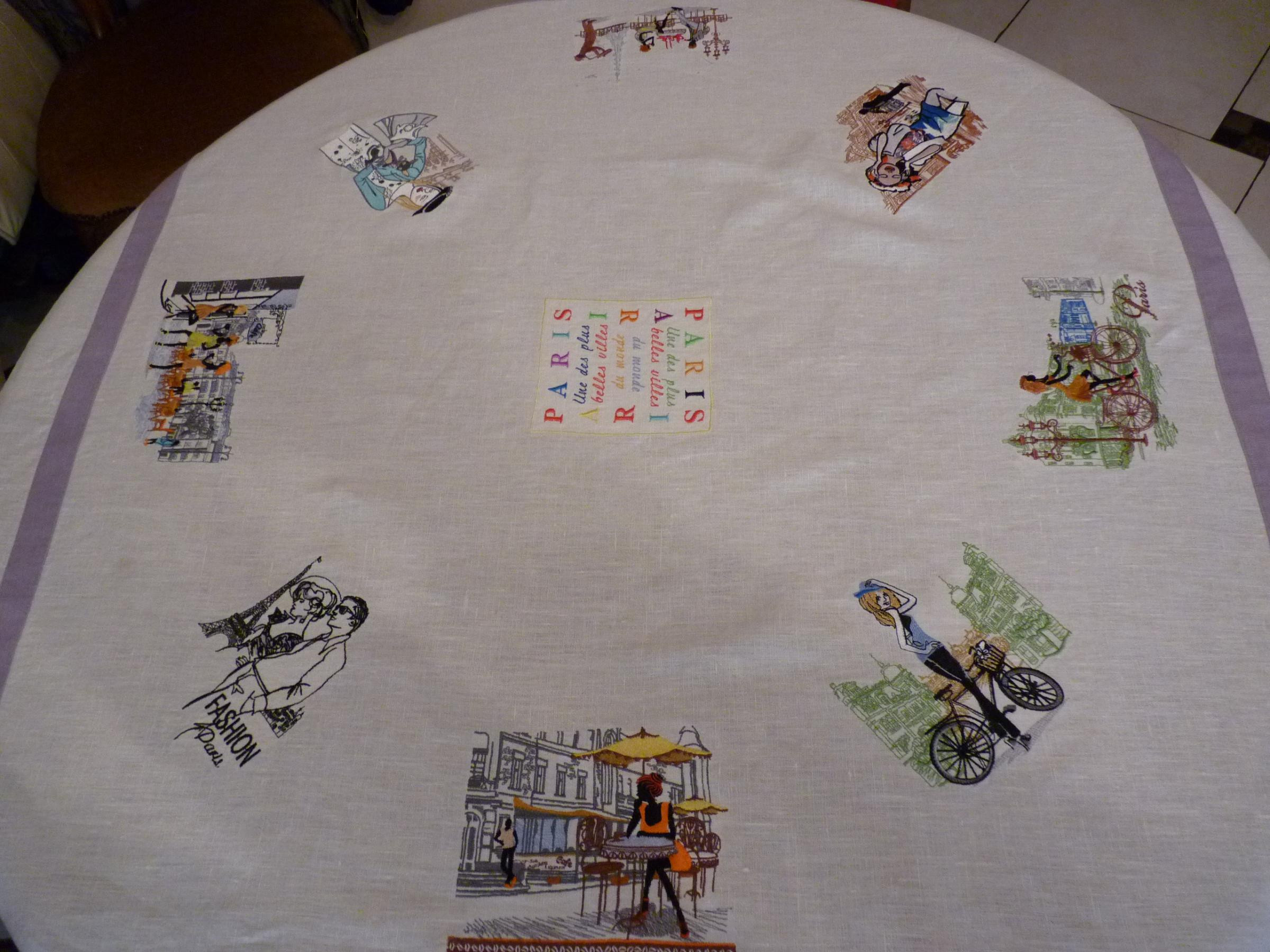 Tablecloth with Paris view embroidery designs