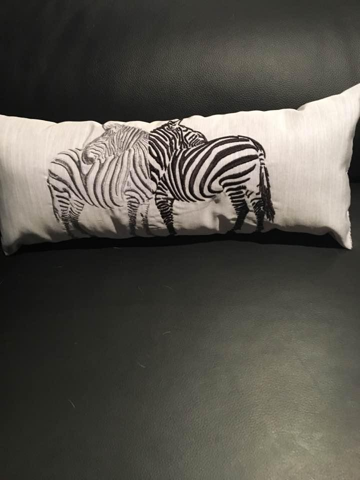 Cushion with two zebras free machine embroidery