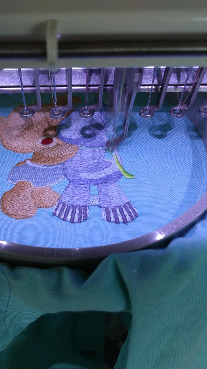 Embroidering Teddy bear with pony