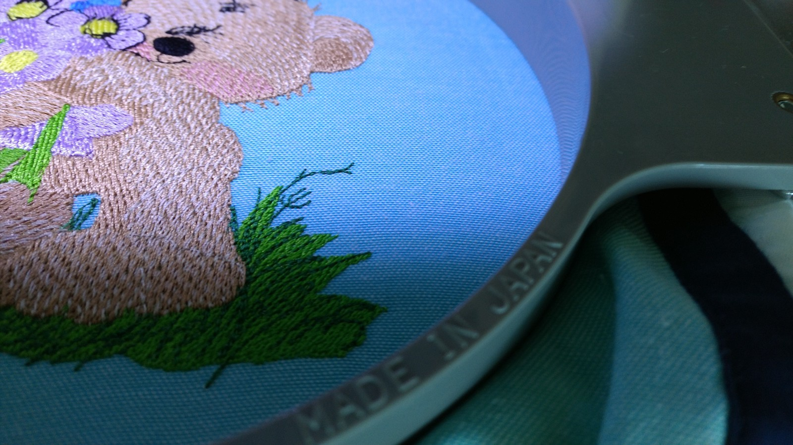 Embroidery process teddy bear design