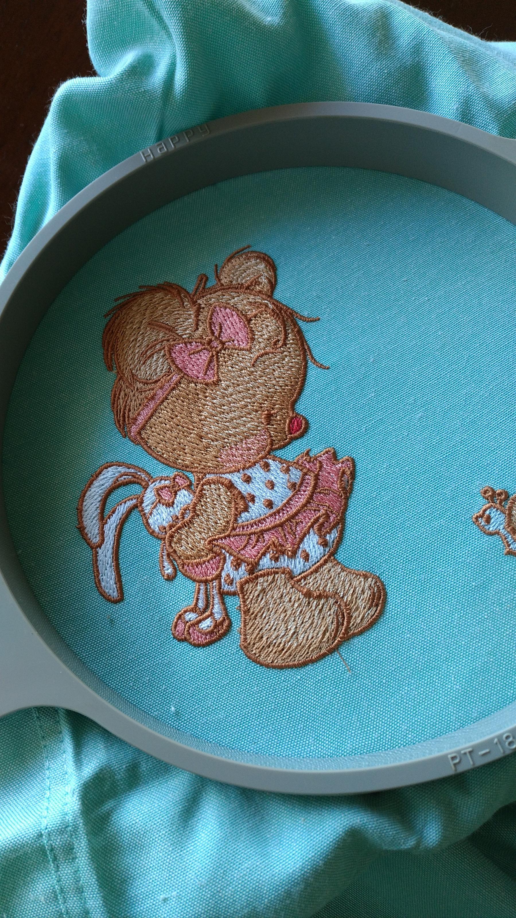 In hoop shy teddy bear embroidery design