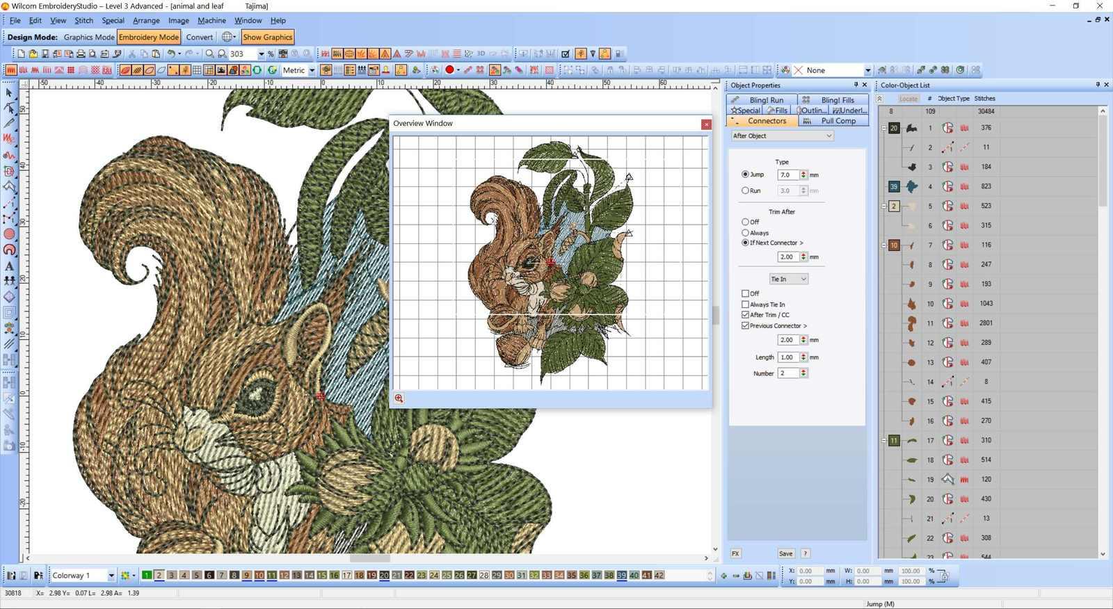 Squirrel embroidery Wilcom screenshot