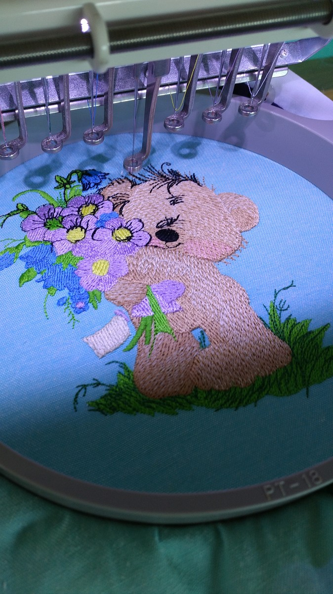 Teddy bear bouquet embroidery process