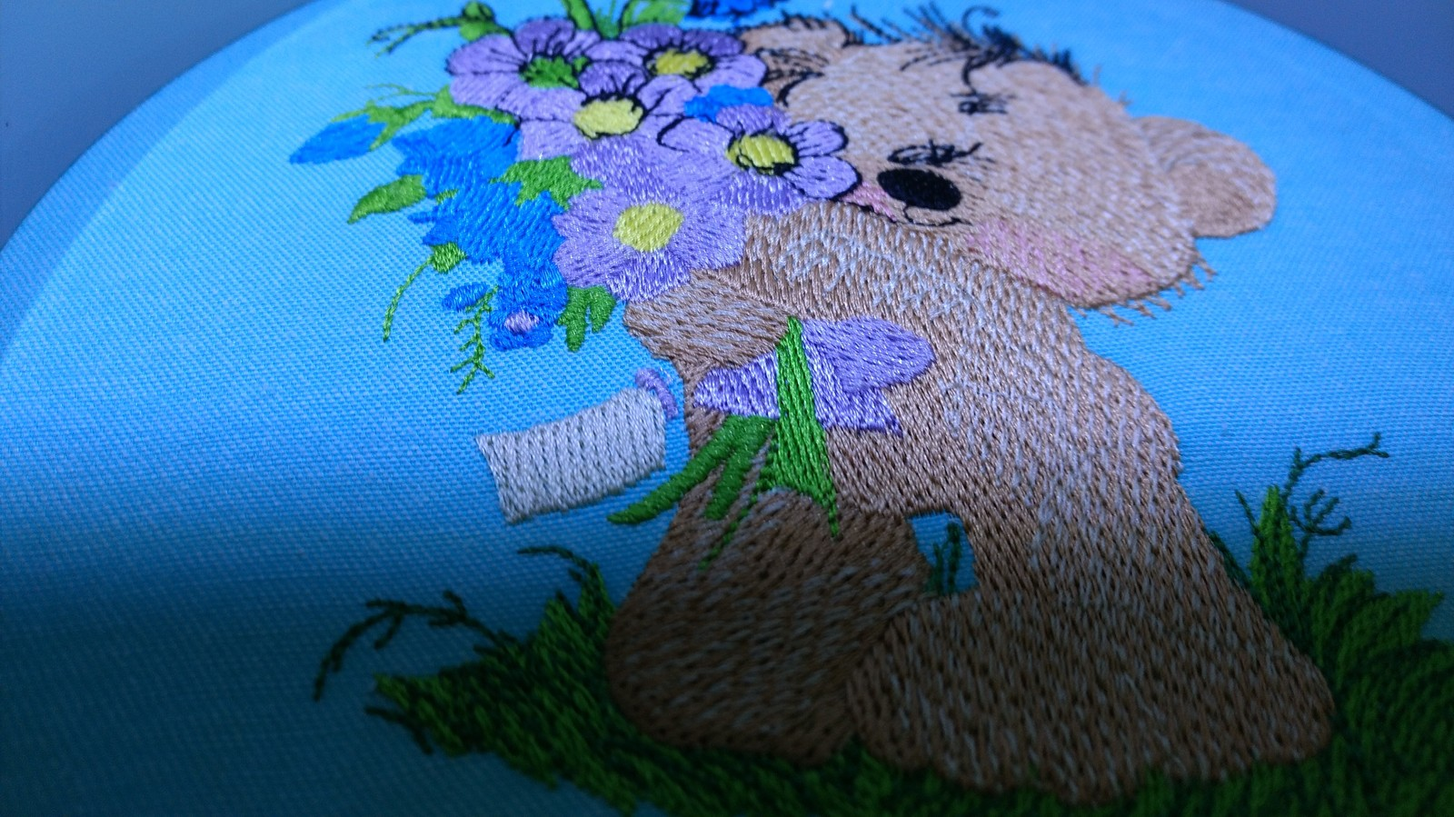 Teddy bear embroidery process