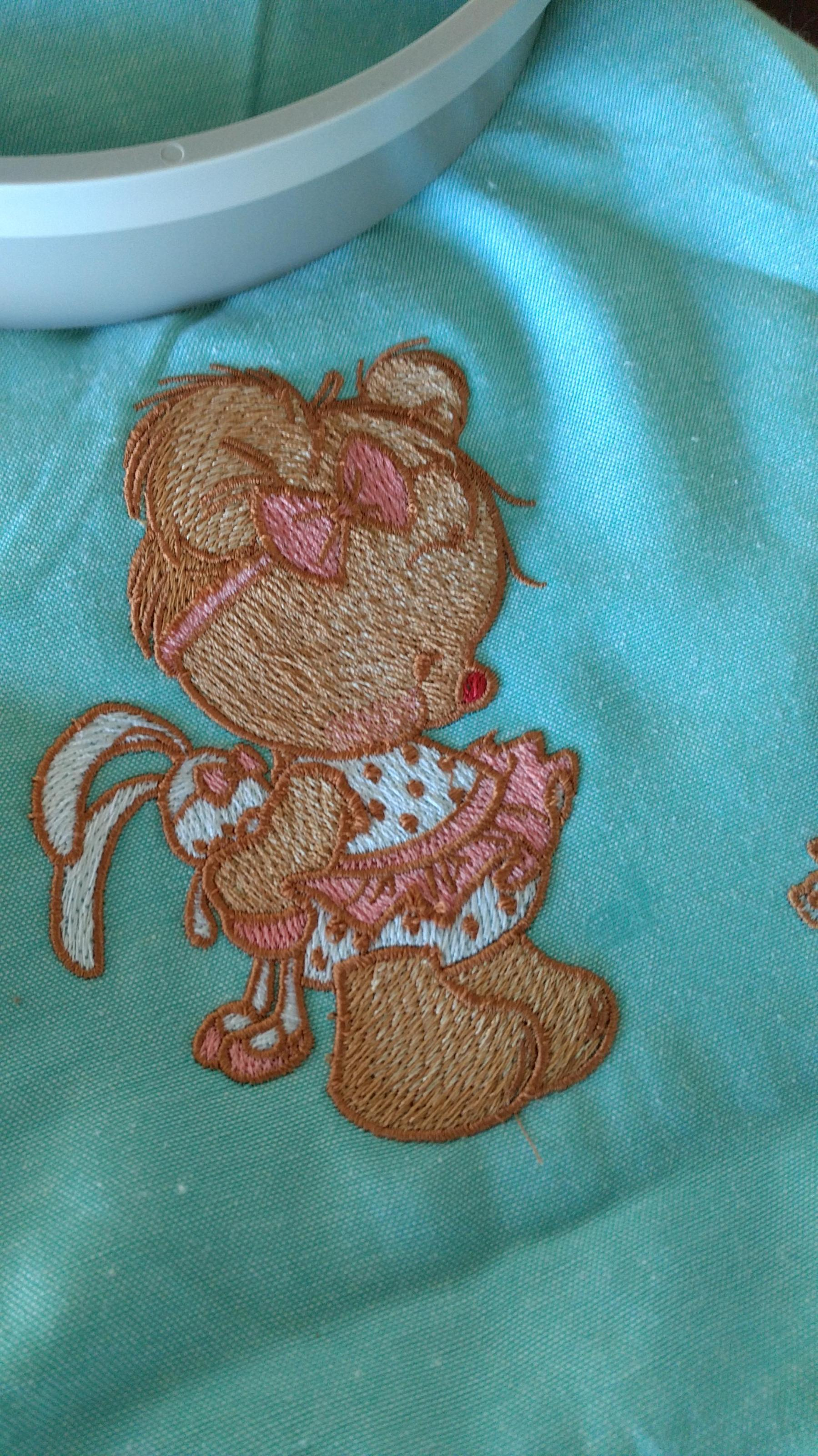 Fineshed process embroidering Teddy bear with bunny toy design