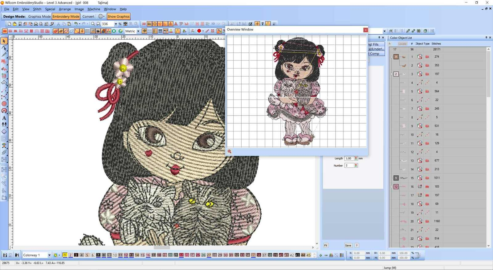 Wilcom screenshot japanese girl with cats embroidery design