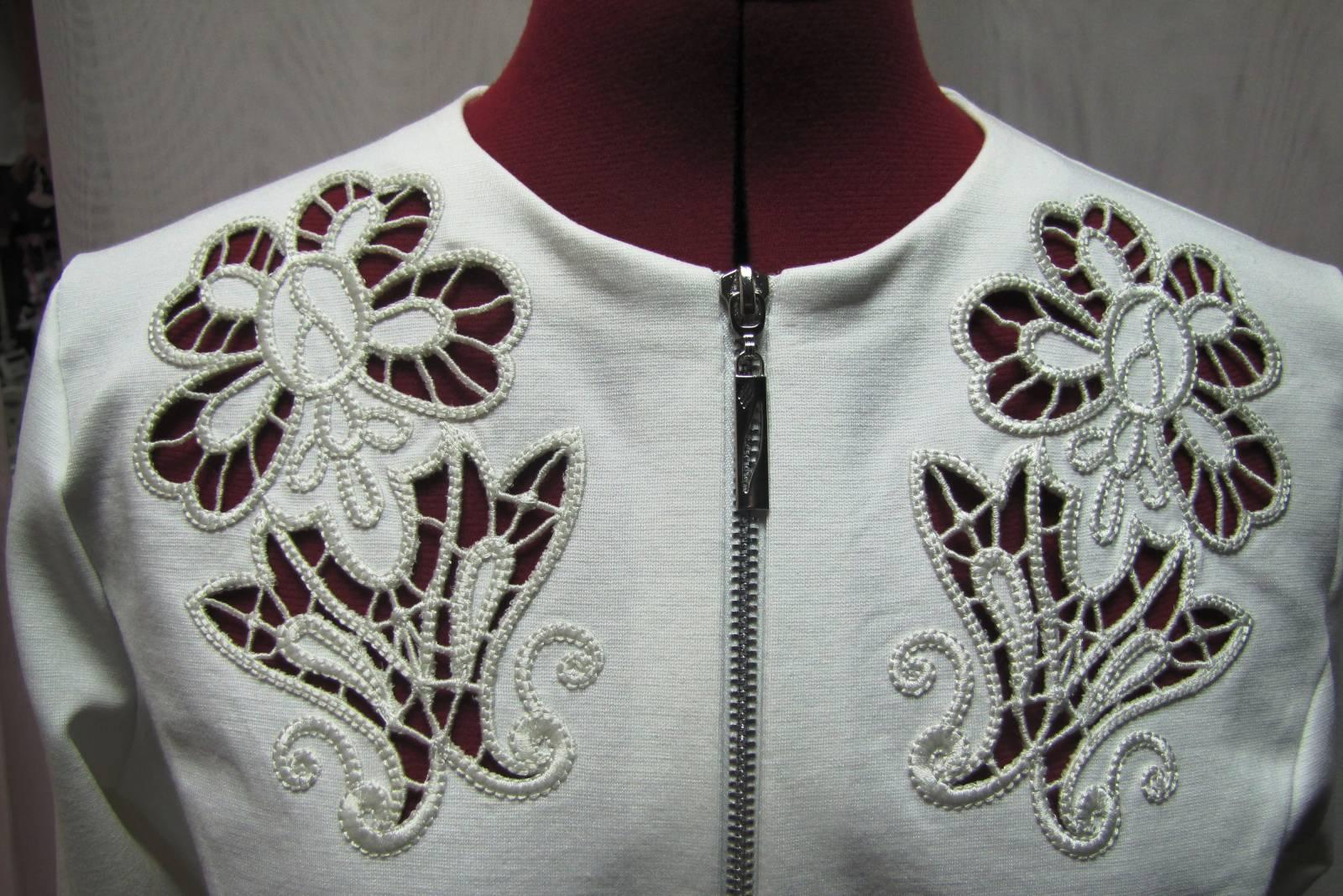 Woman's jacket with lace free machine embroidery design