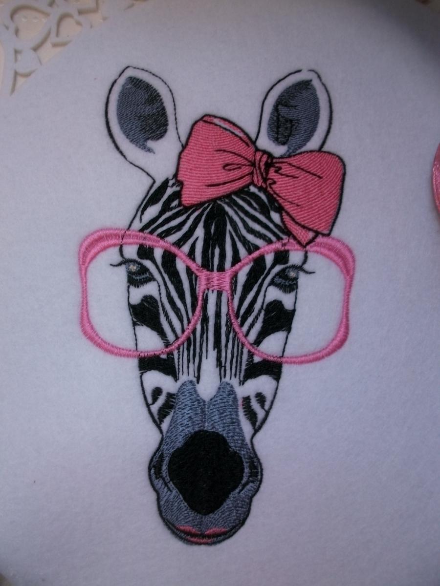 Zebra free machine embroidery showcase with