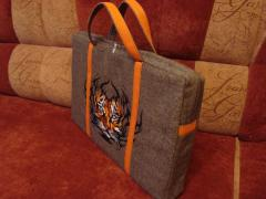 Bag with embroidered tribal tiger machine embroidery design
