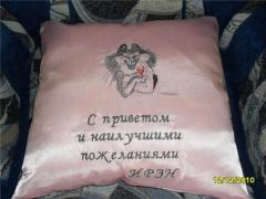 Cushion with Drinking cat free embroidery design