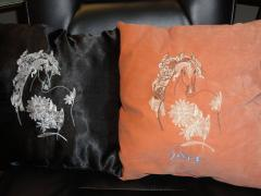 Horse design embroidered on pillows
