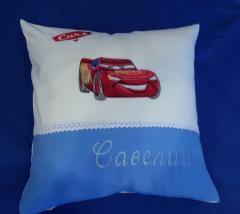 Cushion with Lightning McQueen machine embroidery design