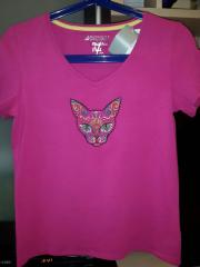 Mexican cat embroidered on the t-shirt machine embroidery design