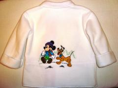 Baby jacket with Mickey Mouse and Pluto embroidery design