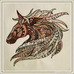 Framed Mosaic horse machine embroidery design