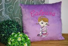 Pillow with Doc McStuffins and Lambie machine embroidery design