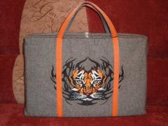 Tribal tiger on the bag machine embroidery design