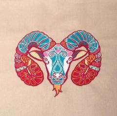 Zodiac sign Aries machine embroidery design