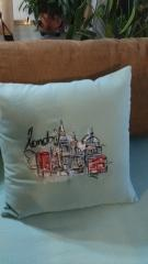 Cushion with London sketch embroidery design