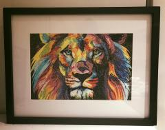 Framed lion in bright colors photo stitch free embroidery