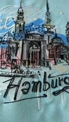 Hamburg sketch embroidery design on pillow