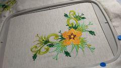 In hoop orange flower free embroidery design