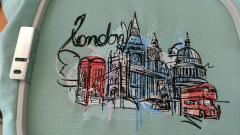 London city sketch embroidery design