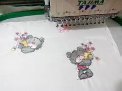 Teddy bears with flowers embroidery design