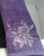 Towel with flower free embroidery design